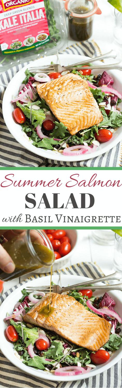 Summer Salmon Salad with Basil Vinaigrette | wickedspatula.com