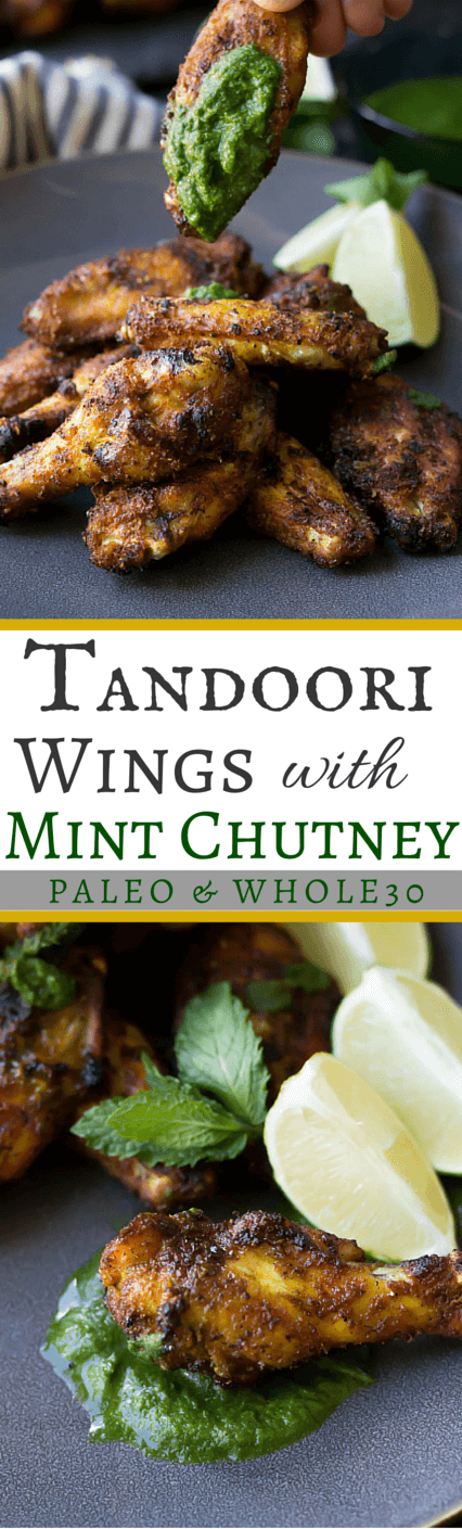 Paleo Tandoori Wings with Mint Chutney  | wickedspatula.com