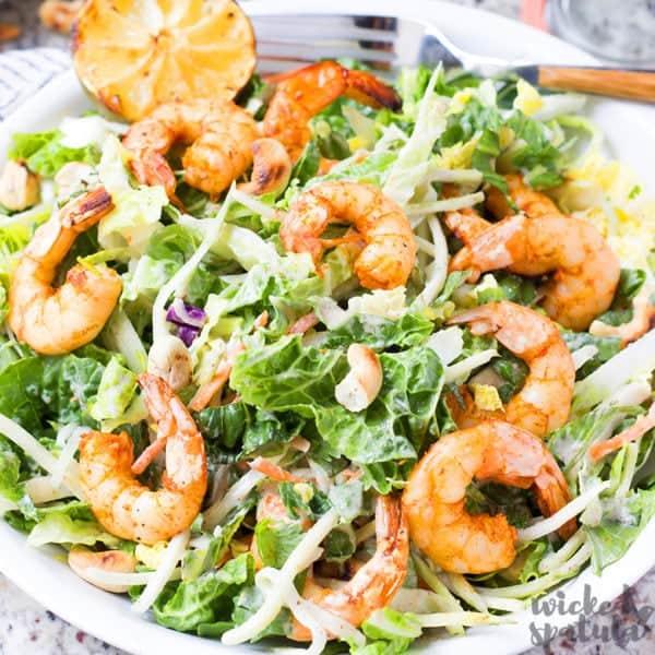 thai shrimp salad on plate