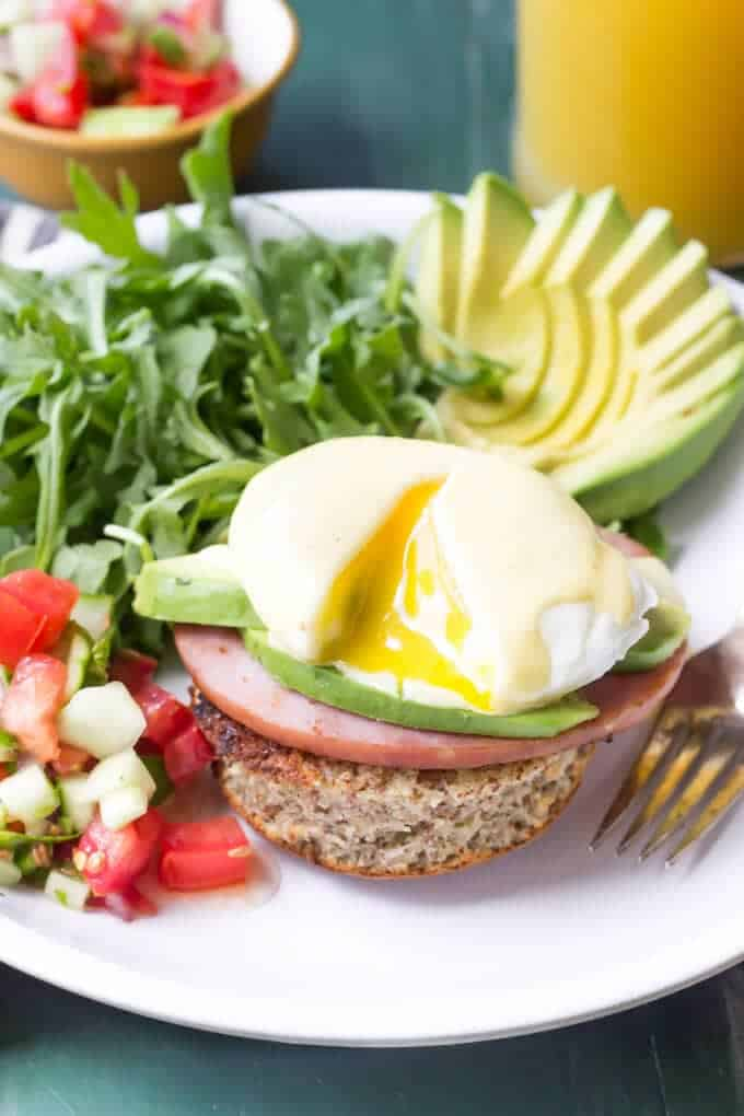 Paleo Eggs Benedict with Avocado and Cucumber Salsa eating