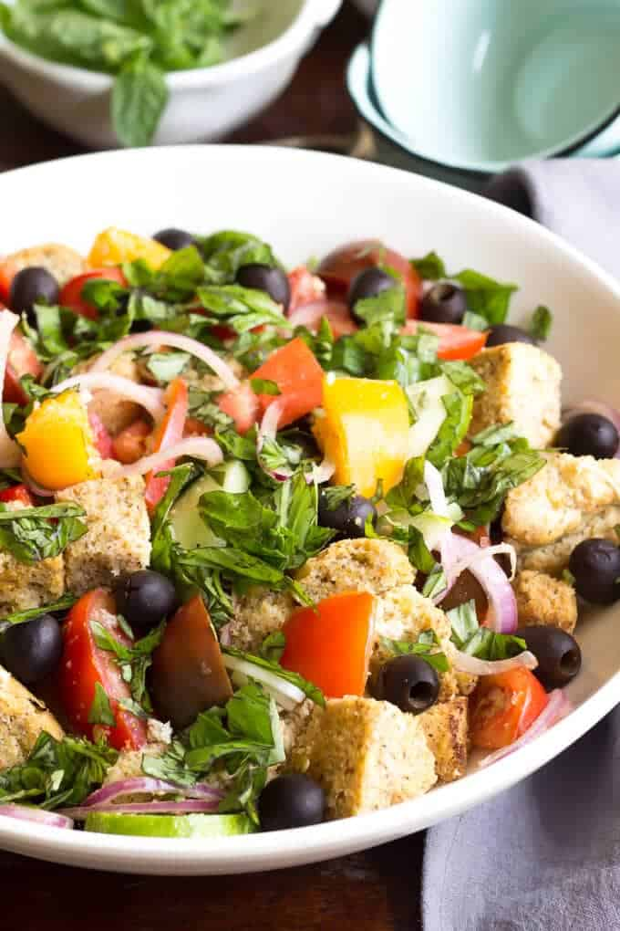 Paleo Panzanella Salad close-up