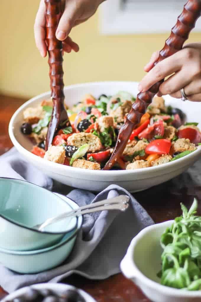 Paleo Panzanella Salad lifting