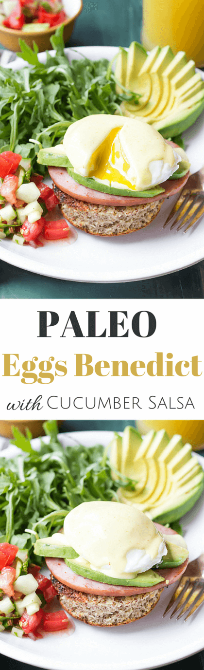 Paleo Eggs Benedict with Avocado and Cucumber Salsa | wickedspatula.com