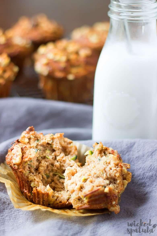 almond flour zucchini muffins - broken in half