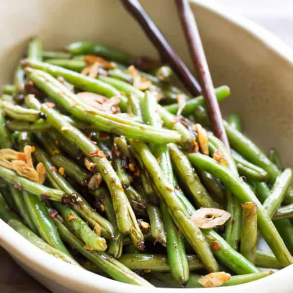 Asian Green Beans Recipe Image With Chopsticks