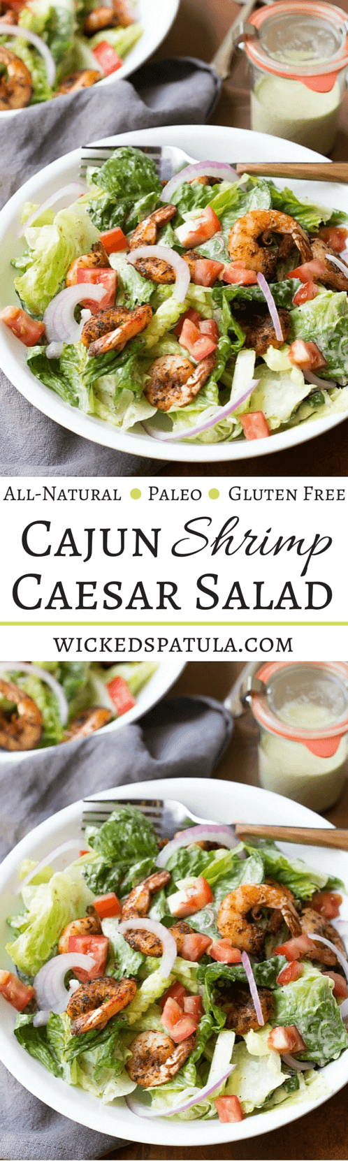 Quick and Easy Paleo Caesar Salad with Cajun Shrimp! | wickedspatula.com