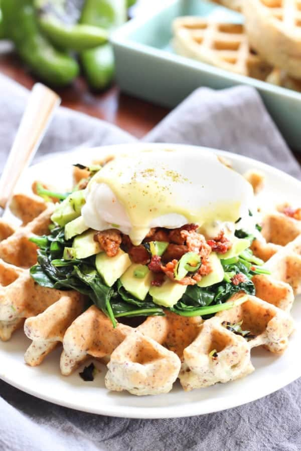 Hatch Chile Waffles Eggs Benedict - These Paleo waffles are perfect for breakfast, lunch, or dinner! | wickedspatula.com