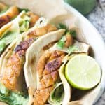 Paleo Pork Belly Tacos with Green Onion Sauce and Pickled Watermelon Rind | wickedspatula.com