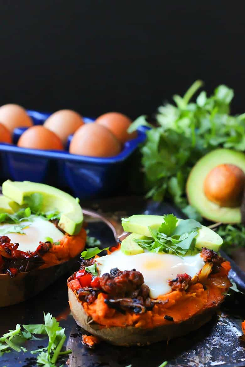 Mexican sweet potato boats with avocado and cilantro