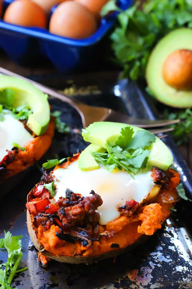 Mexican stuffed sweet potatoes with avocado