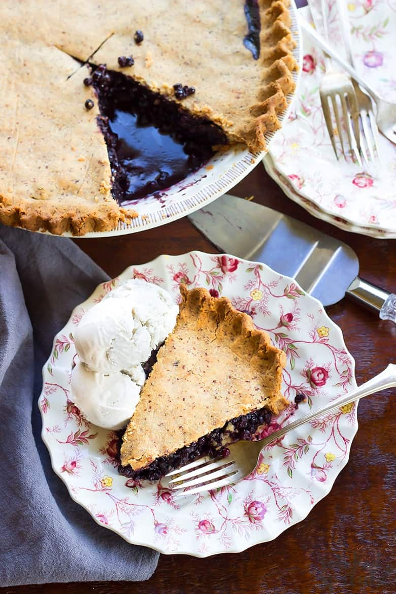 slice of healthy blueberry pie on a plate