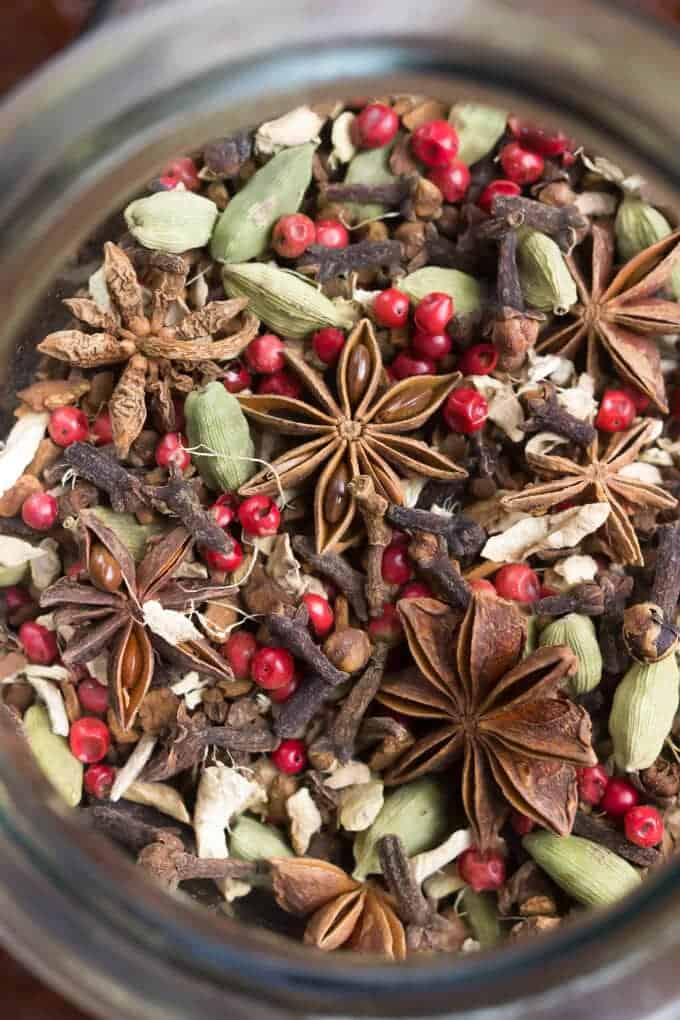 DIY Autumn Herbal Tea Blend in a jar top-view