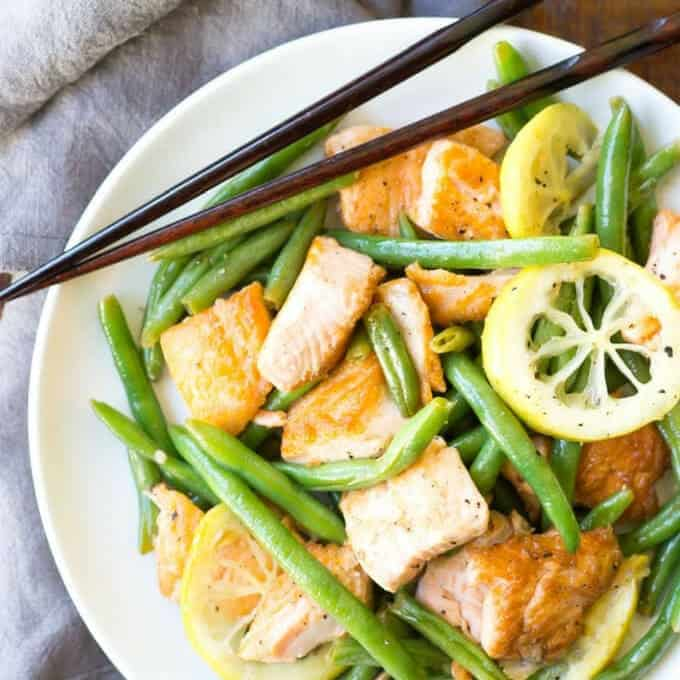 Lemon Pepper Salmon Recipe - Plate of cooked salmon stir fry