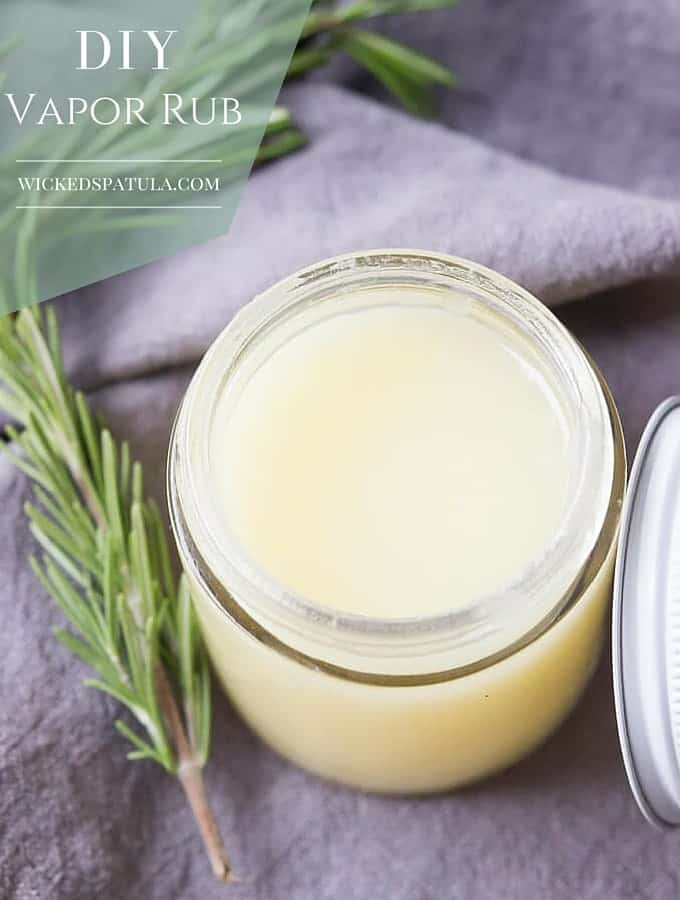DIY Vapor Rub - All natural, safe, and effective! A blend of coconut oil, beeswax, and essential oils to clear congestion and help you breath better!   wickedspatula.com