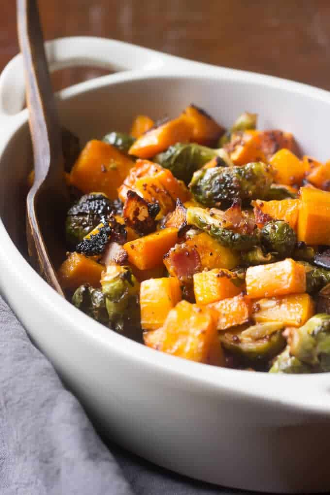 Maple Roasted Butternut Squash With Brussels Sprouts