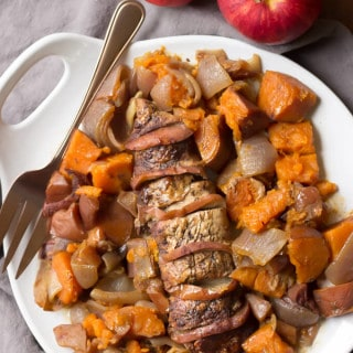 Paleo Slow Cooker Apple Cinnamon Pork Loin - This fall meal is complete with the addition of sweet potatoes. Little effort for such a flavorful meal!