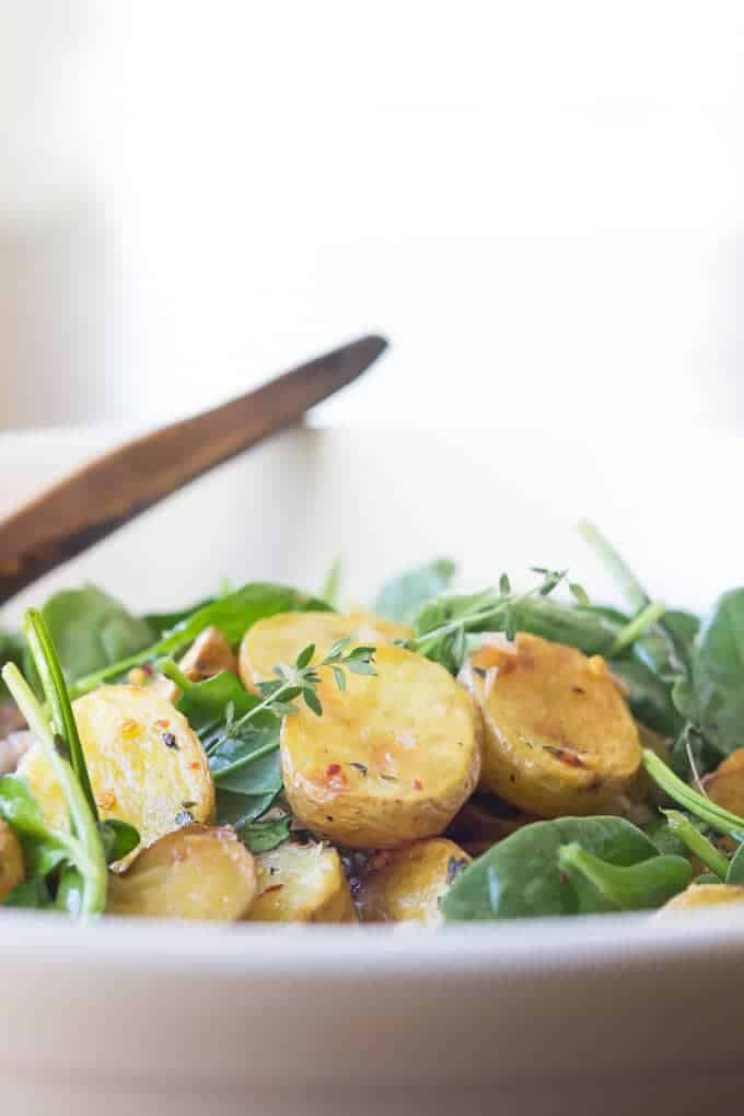 Brown Butter Apple Cider Potato Salad side-view