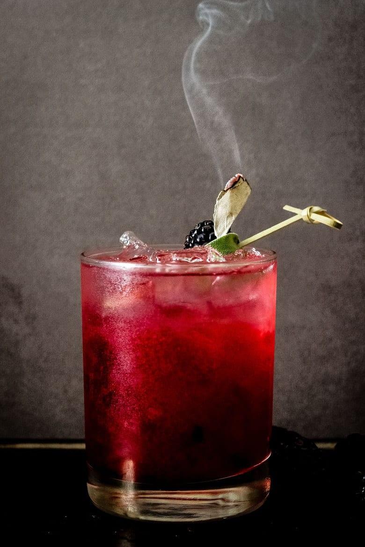 Smoking Blackberry Sage Margarita - The perfect Halloween cocktail!