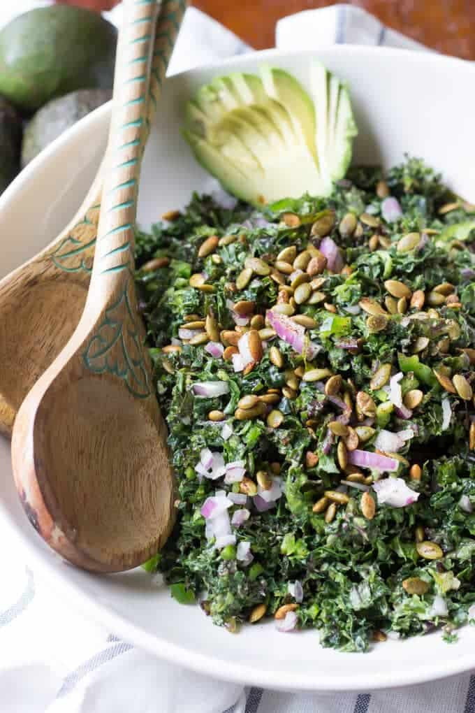 Vegan Kale Caesar Salad with Avocado and Spiced Pepitas | Paleo too ...
