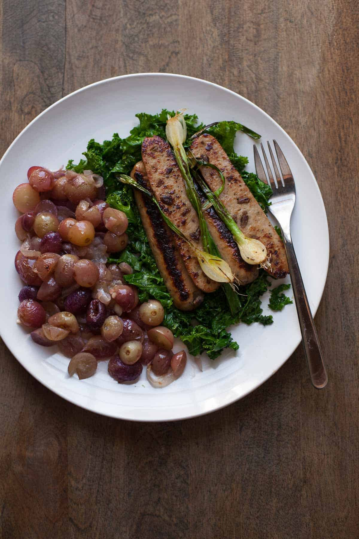Chicken Apple Sausage with Kale and Roasted Grapes