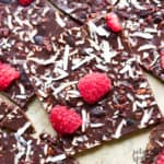 easy dark chocolate bark with raspberries
