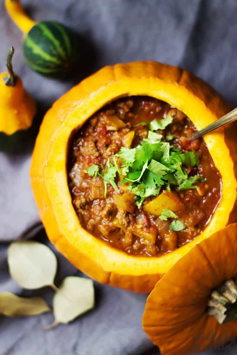paleo pumkin chili in a pumpkin bowl
