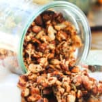 pumpkin granola pouring out a jar