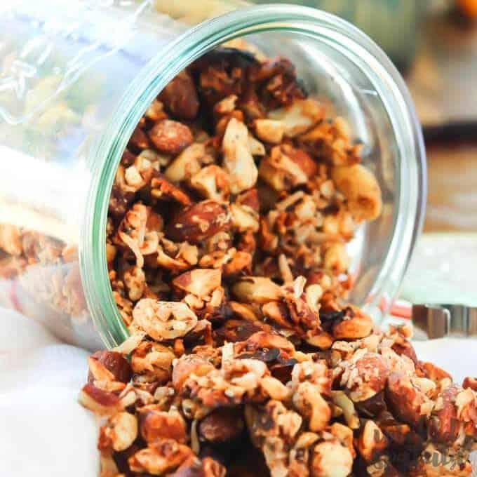 pumpkin granola pouring out a jar