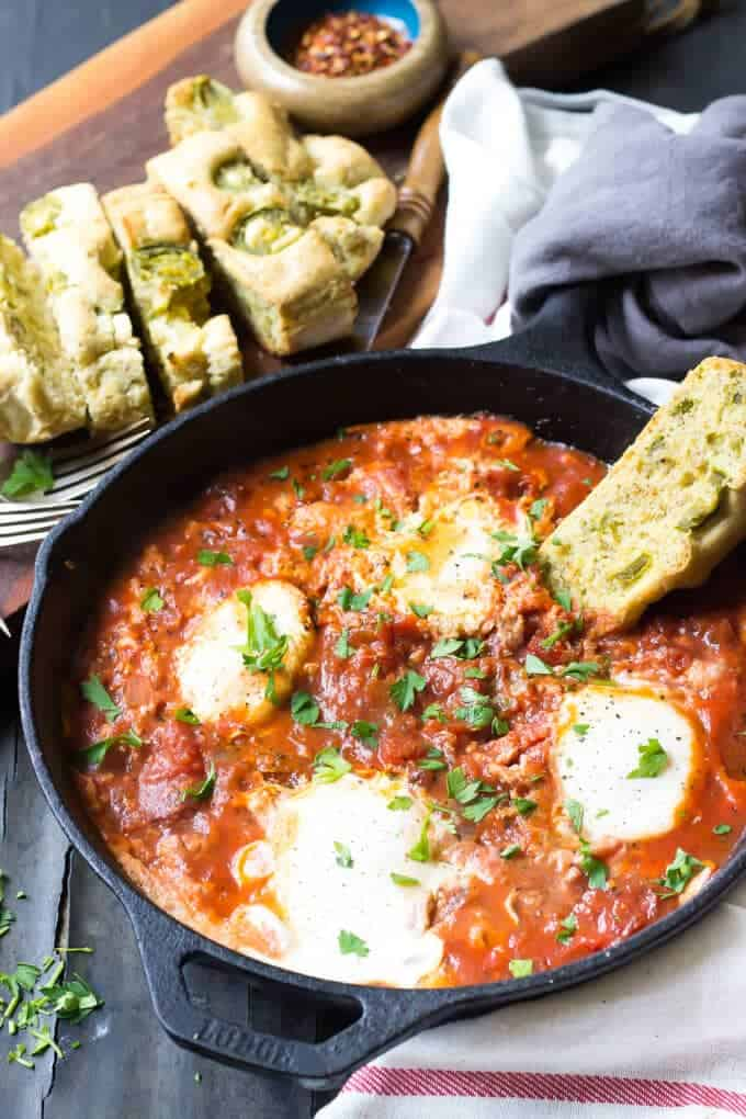 Easy Paleo Eggs In Hell Recipe - Pan with eggs in hell.