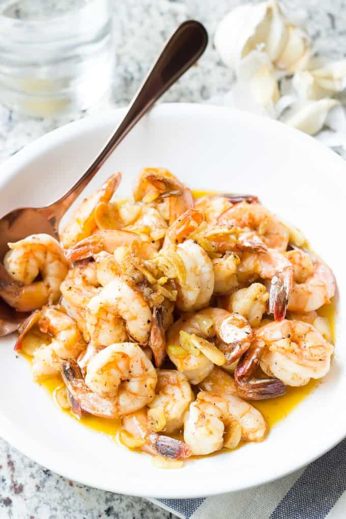 Garlicky Shrimp - A classic style Spanish tapas that's easy, Paleo, and healthy! From the Paleo Planet cookbook!