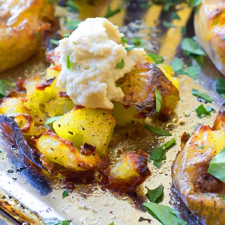 how to make smashed potatoes with cashew cream