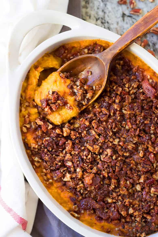 Paleo Sweet Potato Casserole in a casserole dish