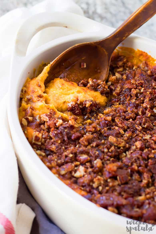 best sweet potato casserole with a wooden spoono