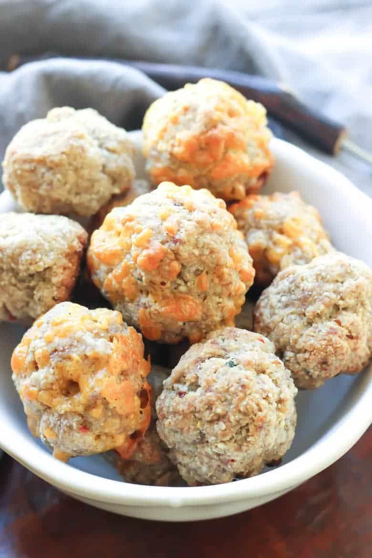 Paleo Sausage Balls - One bowl, super easy, tastes JUST like regular sausage balls! Dairy free option!