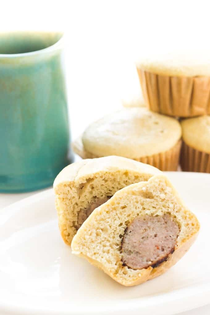 Paleo Pancake Sausage Bites - Soft fluffy pancake muffins stuffed with breakfast sausage! They're the perfect on-the-go breakfast and kids LOVE them!