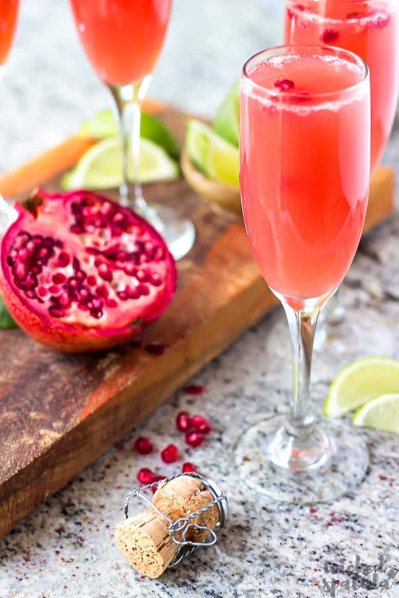 mimosa tequila cocktail with pomegranate