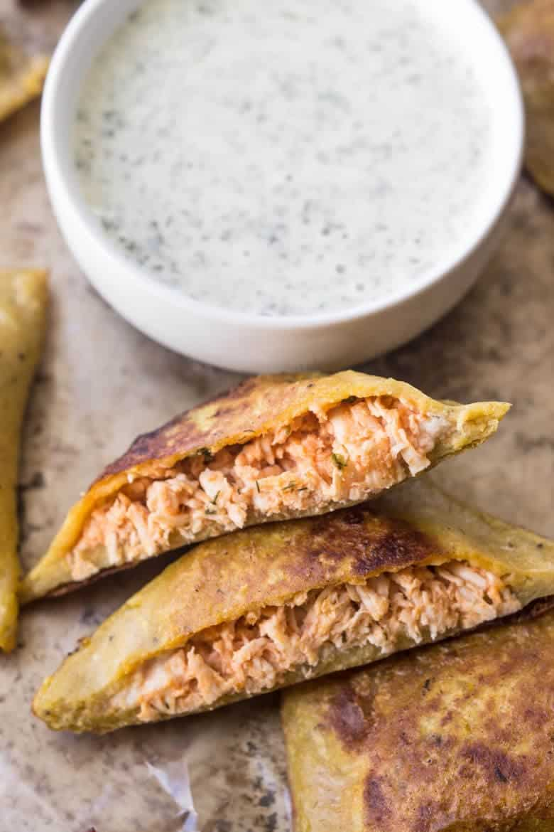 Paleo Buffalo Chicken Pizza Poppers - with dip