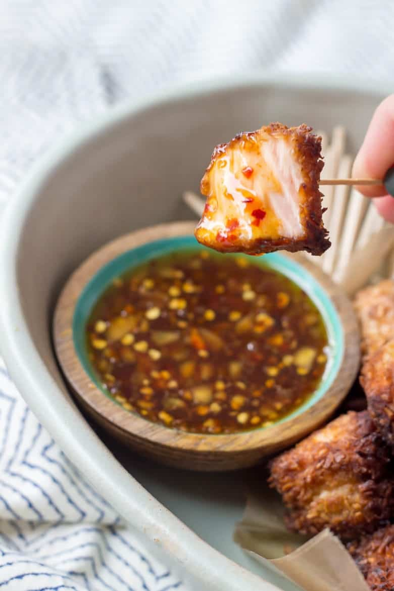 Quick Paleo Coconut Salmon Bites served with an easy sweet chili sauce!