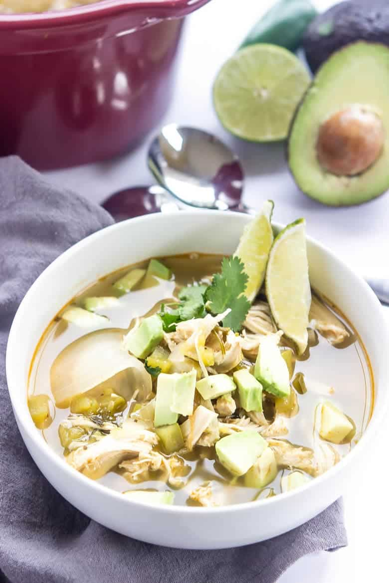 Green Chili Chicken Soup In A Crock Pot Recipe - Bowl of soup ready to eat