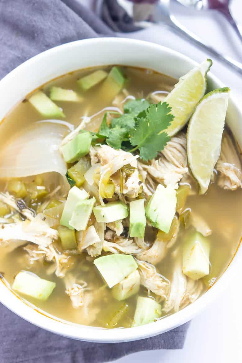 Green Chili Chicken Soup In A Crock Pot Recipe - Bowl With Soup