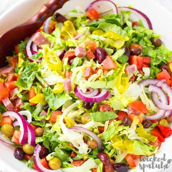 tossed Italian salad in a bowl