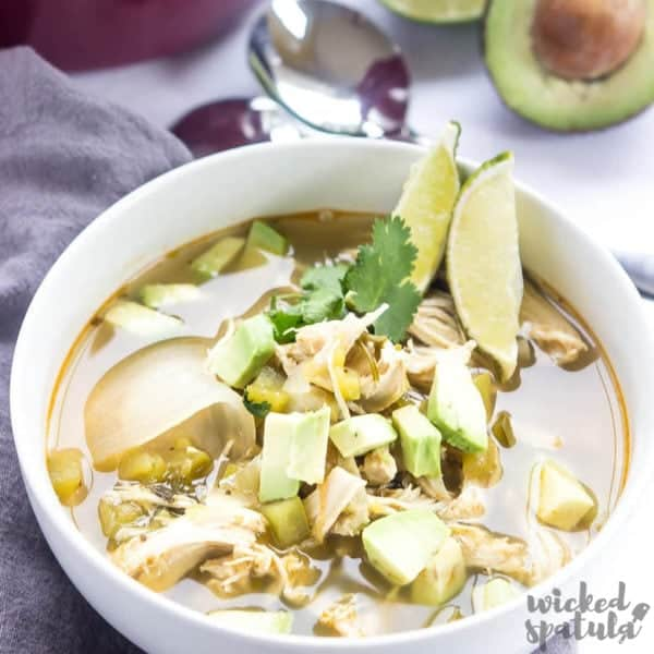 Green chicken chile soup recipe close-up