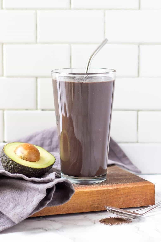 Homemade Banana Chocolate Protein Shake Recipe - Delicious protein shake in glass
