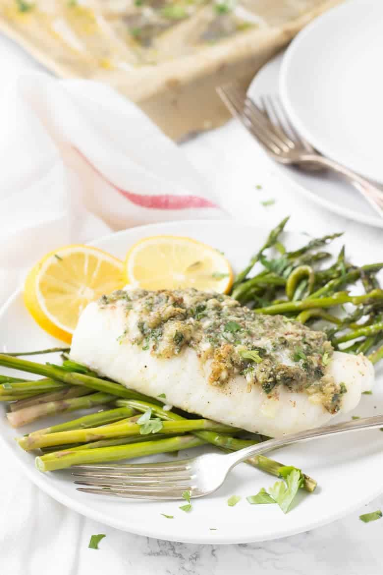 Herb Crusted Cod on a plate