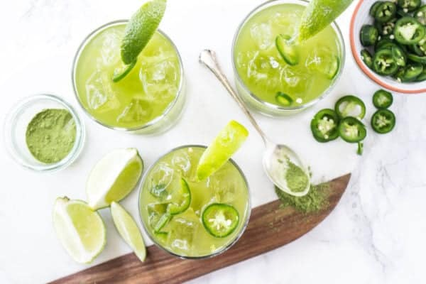 Spicy Matcha Margaritas - Matcha powder, green tea, tequila, lime juice, jalapeños, and a honey simple syrup gets combined for this epic cocktail.