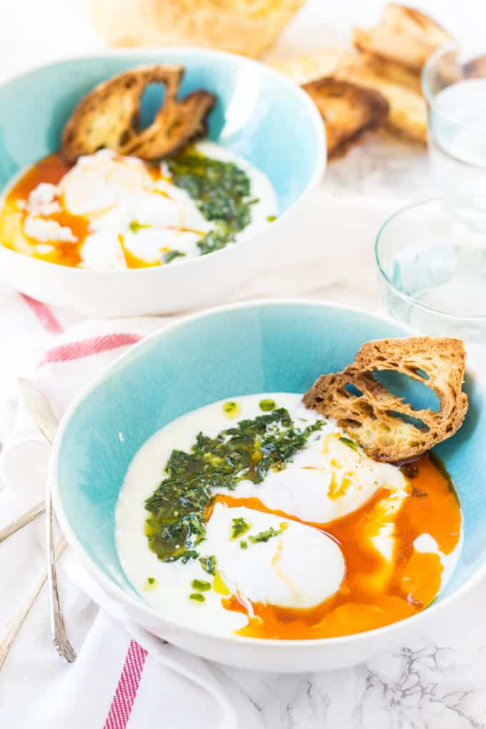 Turkish Poached Eggs side-view