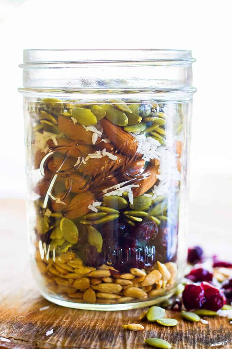 healthy homemade trail mix in jar