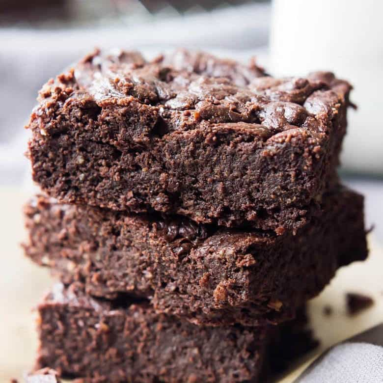 Front Facing Image Of Stack Of Paleo Chocolate Brownies