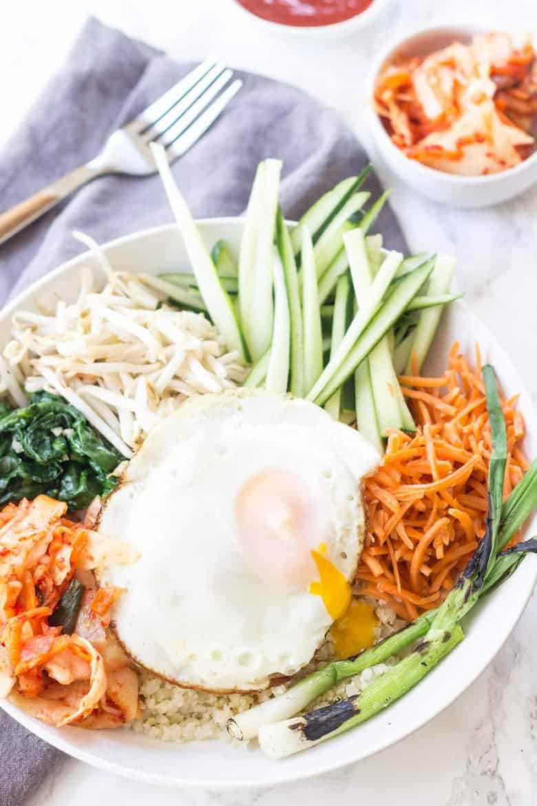 Korean paleo bibimbap wicked spatula this korean paleo bibimbap is packed full of healthy vegetables kimchi and fried eggs forumfinder Images