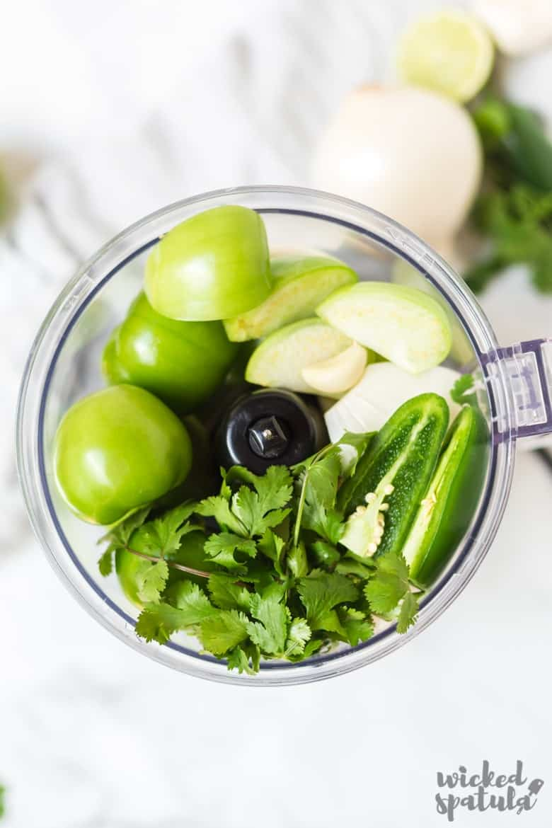 Fresh Tomatillo Salsa Recipe - Ingredients in food processor